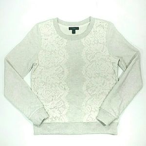 J. Crew Top Sweatshirt Lace Grey Cream XS